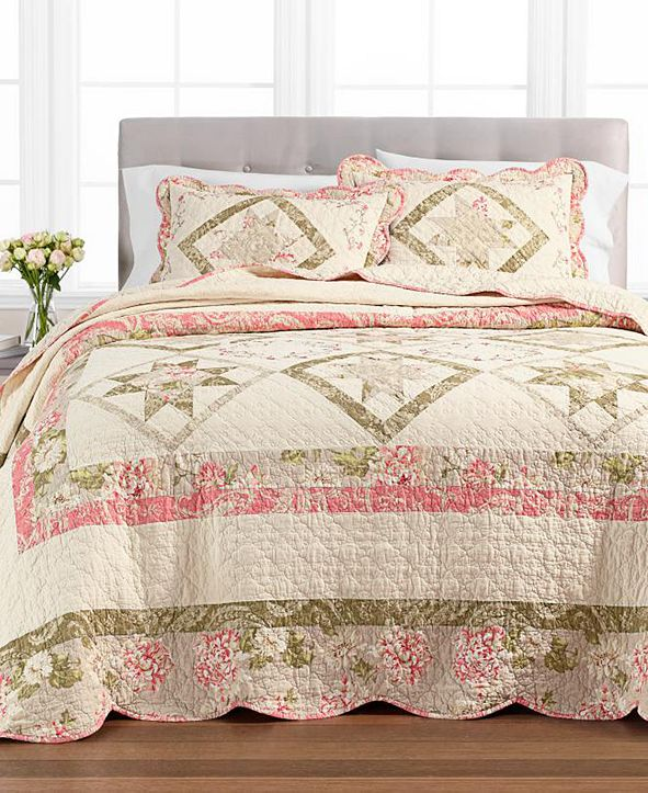 Martha Stewart Collection Star Patchwork Queen Bedspread, Created for Macy's