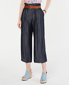 Tommy Hilfiger High-Waist Belted Pants, Created for Macy's