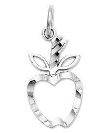 14k White Gold Charm,  Diamond-Cut Apple Charm
