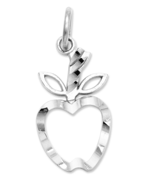 14k White Gold Charm, Diamond-Cut Apple Charm