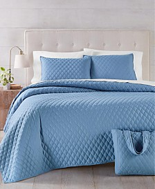 Martha Stewart Essentials Solid 4-Pc. King Quilt and Tote Bag Set, Created for Macy's