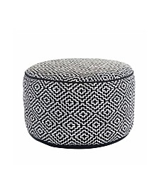Maison Black and White Diamond Pattern Round Hand Knitted Ottoman Pouf