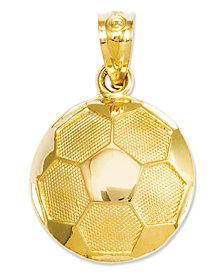 14k Gold Charm, Soccer Ball Charm