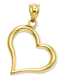 14k Gold Charm, Open Heart Charm