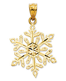 14k Gold Charm, Diamond-Cut Snowflake Charm