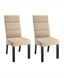Corliving Tall Back Upholstered Dining Chairs, Set of 2