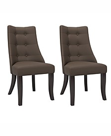 Button Tufted Dining Accent Chairs, Set of 2