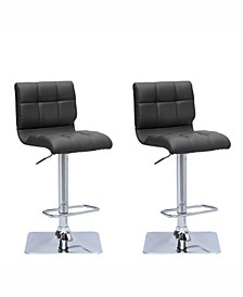 Adjustable Curved Back Barstool in Bonded Leather, Set of 2