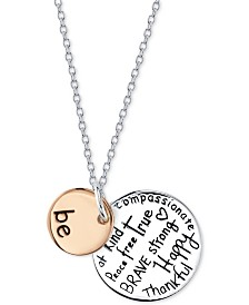 "Unwritten ""Be"" Disc 18"" Pendant Necklace in Sterling Silver & Rose Gold-Flash Plated Sterling Silver"