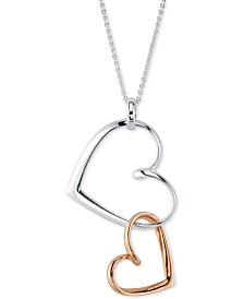 "Unwritten Double Open Hearts Pendant Necklace in Sterling Silver & Rose Gold-Flash, 18"", Created for Macy's"