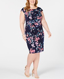 Connected Plus Size Sunburst Floral Sheath Dress