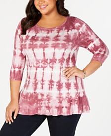 Belldini Black Label Plus Size Tie-Dyed Embellished Ruffle Top