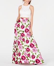 Juniors' 2-Pc. Lace Floral-Print Gown