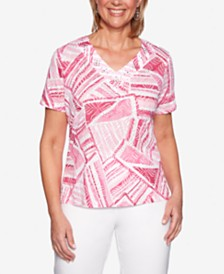 Alfred Dunner Classics Printed Studded Top