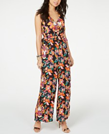 Thalia Sodi Printed Tie-Waist V-Neck Jumpsuit, Created for Macy's