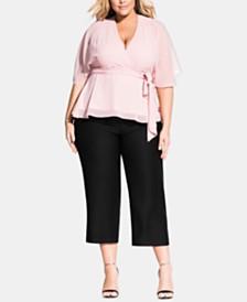 City Chic Trendy Plus Size Elegant Sheer-Sleeve Wrap Top