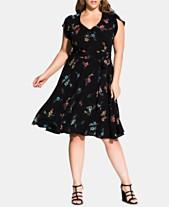 6e546ffb56b3 City Chic Trendy Plus Size Floral-Print Fit   Flare Dress