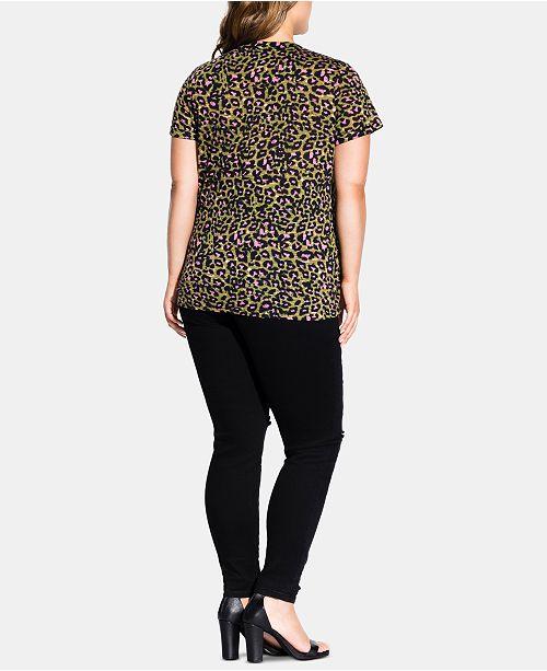 6e08a74008 City Chic Trendy Plus Size Animal-Print T-Shirt & Reviews - Tops ...
