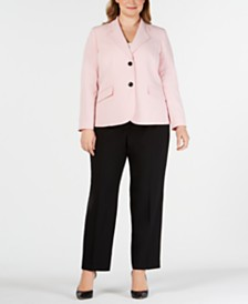 Le Suit Plus Size Two-Button Pantsuit