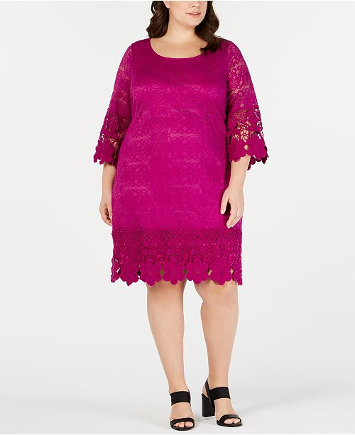Alfani Plus Size Crochet-Trim Illusion Dress, Created for Macy\'s