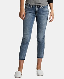 Silver Jeans Co. Elyse Relaxed-Curvy-Fit Slim-Leg Cropped Jeans