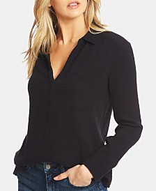 1.STATE Cotton Split-Neck Shirt