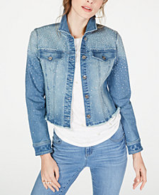 I.N.C. Cropped Rhinestone Jean Jacket, Created for Macy's