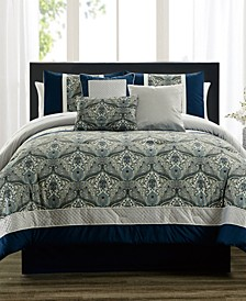 CLOSEOUT! Weddington Blue 7-Pc. Comforter Sets