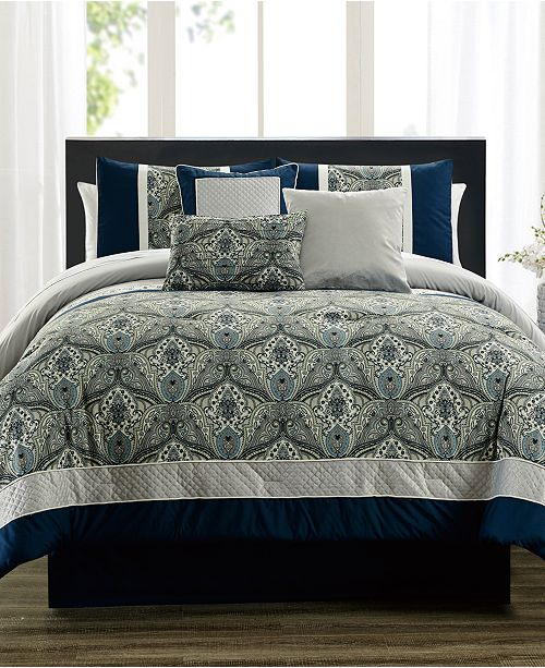 Hallmart Collectibles CLOSEOUT! Weddington Blue 7-Pc. Full Comforter Set