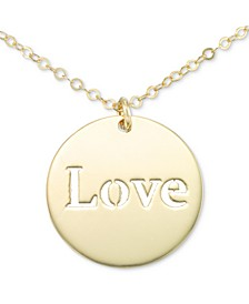 "Italian Gold Cutout ""Love"" 18"" Pendant Necklace in 10k Gold"