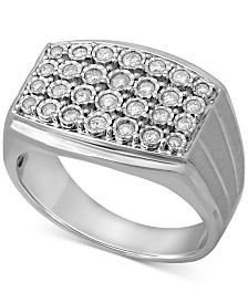 Men's Diamond Cluster Ring (1/2 ct. t.w.) in Sterling Silver
