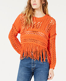 Free People Fringe Open-Knit Cropped Sweater