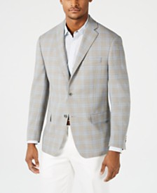 Michael Kors Men's Classic-Fit Tan & Blue Plaid Sport Coat