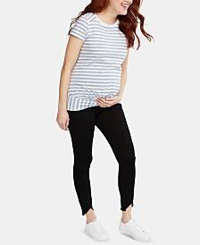 Motherhood Maternity Frayed-Hem Skinny Jeans