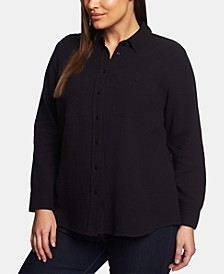 Trendy Plus Size Cotton Gauze Shirt
