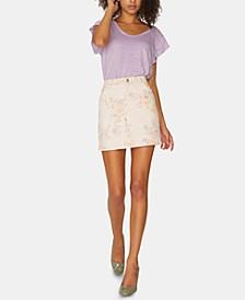 Ryan Floral-Print Denim Mini Skirt