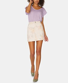 Sanctuary Ryan Floral-Print Denim Mini Skirt
