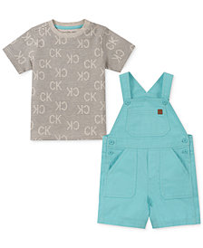 Calvin Klein Baby Boys 2-Pc. Printed T-Shirt & Shortall Set