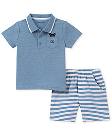 Calvin Klein Baby Boys 2-Pc. Polo Shirt & Striped Shorts Set
