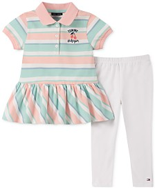 Tommy Hilfiger Baby Girls 2-Pc. Striped Peplum Polo Shirt & Leggings Set