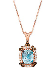 "Sea Blue Aquamarine (2-1/5 ct. t.w.) & Diamond (1/2 ct. t.w.) 20"" Pendant Necklace in 14k Rose Gold"