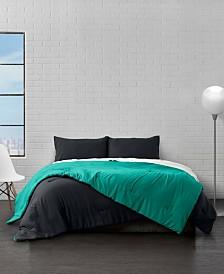 Reversible Brushed Microfiber Plush Down-Alternative Comforter 3 Piece Set - King