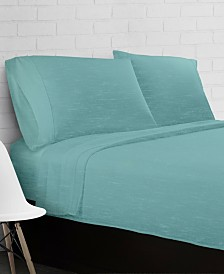Heather Jersey Knit 4-Piece Sheet Set - Queen