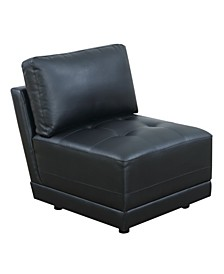 Bonded Leather Armless Chair with Back Cushion
