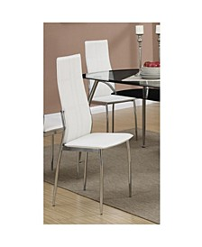 Set of 2 Metal Dining Chair with Leather Upholstery