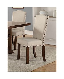 Benzara Rubber Wood Dining Chair with Nail Head Trim, Set of 2