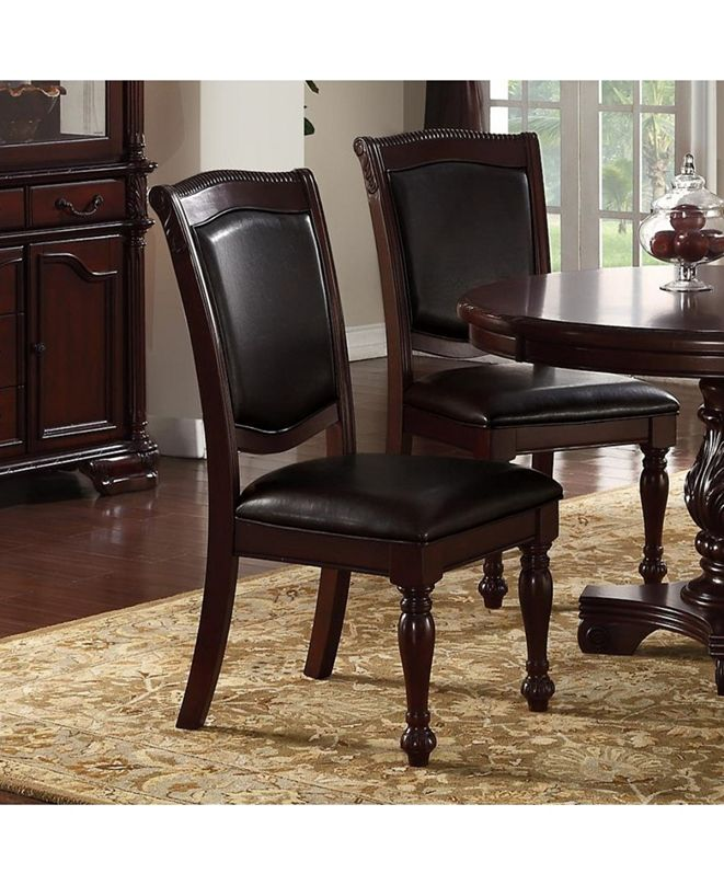 Benzara Set of 2 Rubber Wood Traditional Dining Chair