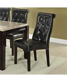 Benzara Black Faux Leather Tufted Dining Chair, Set of 2
