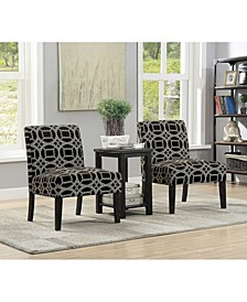 Transitional Style 3 Piece Set with One Side Table And 2 Chairs