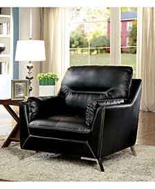 Benzara Leather Upholstered Chair with Metal Flared Legs